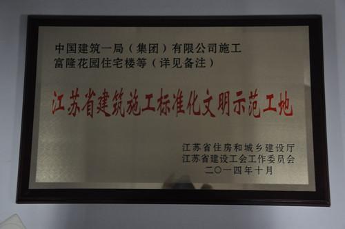 江苏省建筑施工标准化 文明 示范 工地 荣誉奖牌及证书